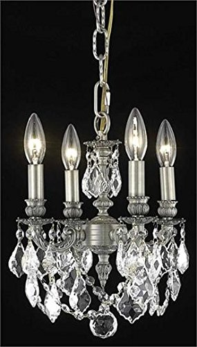 Reynard Pewter Traditional 4-Light Pendant Swarovski Spectra Crystal in Crystal (Clear)-7739D10PW-SA--10