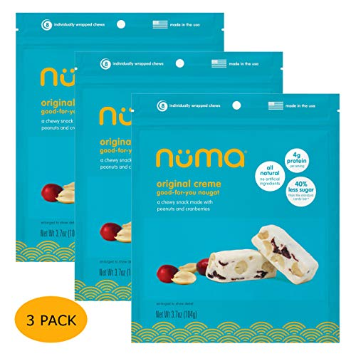 All Natural Chewy Nougat Candy - Low Calorie, Low Sugar, Gluten Free, 4g Protein per Serving, Creamy, Healthy Snack with Peanuts and Dried Cranberries - 3 Bags with 24 Individually Wrapped Chews