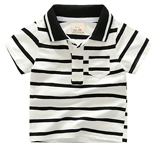 Aulase Toddler Boys' Stretch Classic Polo Tee Short Sleeve Cotton Black and White Striped T-Shirt (Striped 18-24M)