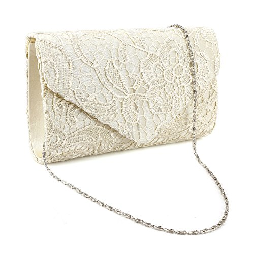 Evening Ladies Prom Wedding Bag Champagne Lace Purse Floral Handbag Women Clutch Shoulder tFwcHFAq