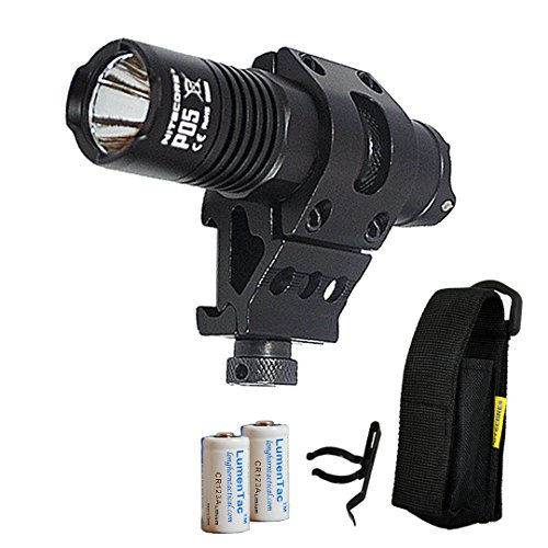 Nitecore P05 460 Lumen Strobe Ready Mounted Tactical LED Flashlight with Offset Mount and 2X LumenTac CR123A Batteries - Perfect for Home and Law Enforcement