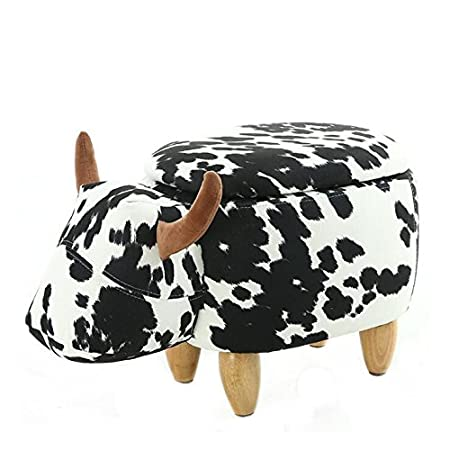 Wood Support Upholstered Footstool for Kids Ottoman Pouffe Footrest Stool 3D Cute Animal Shape (Black and White Cow) Shock333