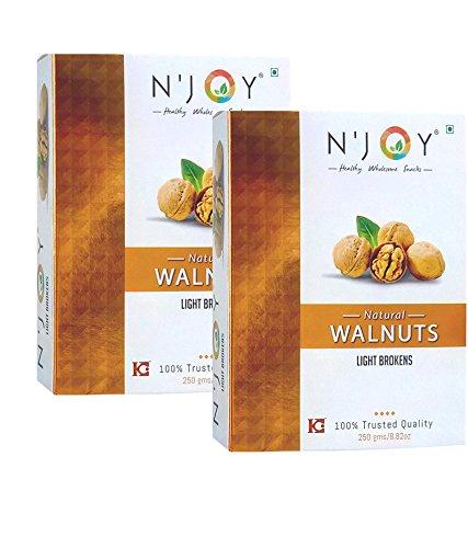 N'Joy Natural Ligth Broken Walnuts Kernels, 500gm- Pack of 2