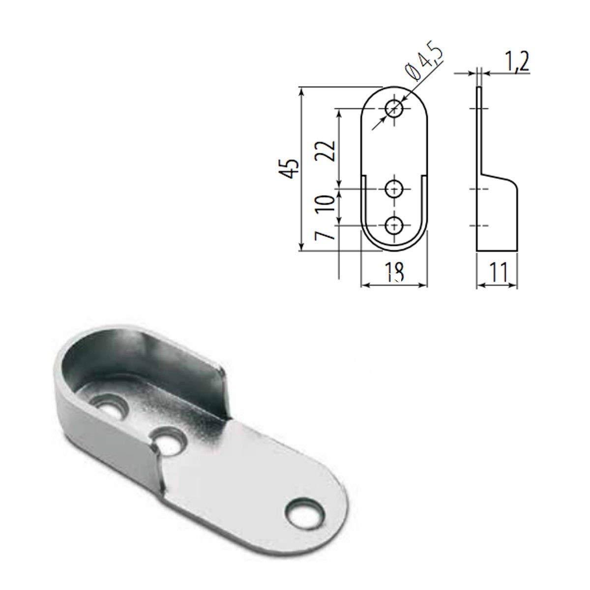 organizador de armario de corte a tama/ño Armario de barra ovalada con tubo de metal pulido para colgar soportes de extremo y tornillos MKGT/®