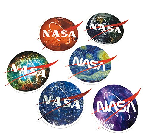NASA Stickers for Laptop Motorcycle Car Helmet Skateboard Luggage Bike Bumper Waterproof - Galaxy Variety Vinyl Decals Gift (6 PCS) ()