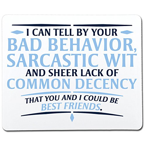 I Can Tell by Your Bad Behavior, Sarcastic Wit and Sheer Lack of Common Decency That You and I Could Be Best Friends Funny Gag Gift Co-Worker Gift Novelty Mouse Pad Computer Accessory Gift for Dad