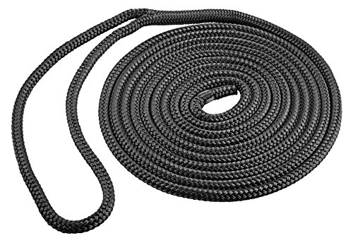 Shoreline Marine Double Braided Nylon Dock Line, Black, 1/2-Inch x 15-Feet