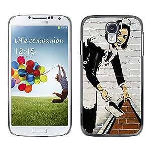 - Graffiti art style Pattern - - Monedero pared Design Premium cuero del tir¨®n magn¨¦tico delgado del caso de la cubierta pata de ca FOR Samsung Galaxy S4 i9500 i9508 i959 Funny House