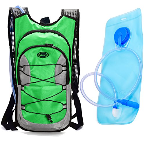 Juboury Hydration Backpack--Hydration Rucksack Bag Includes Free 2L Water Bladder for Running, Hiking, Biking, and for All Other Outdoor Sports Where You Need Water (Green)