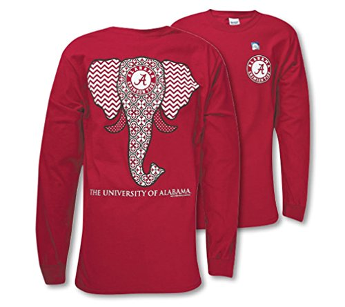 - Southern Couture SC Classic Alabama Crimson Tide Elephant on Long Sleeve Womens Classic Fit T-Shirt - Cardinal, X-Large