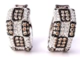 LeVian Chocolate Diamond Earrings 1.85 cttw (Clarity SI1-SI2) Huggies / Hoops 14k White Gold