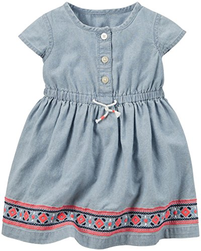 Carter's Baby Girl Dress Chambray with Embro, Denim, New Born