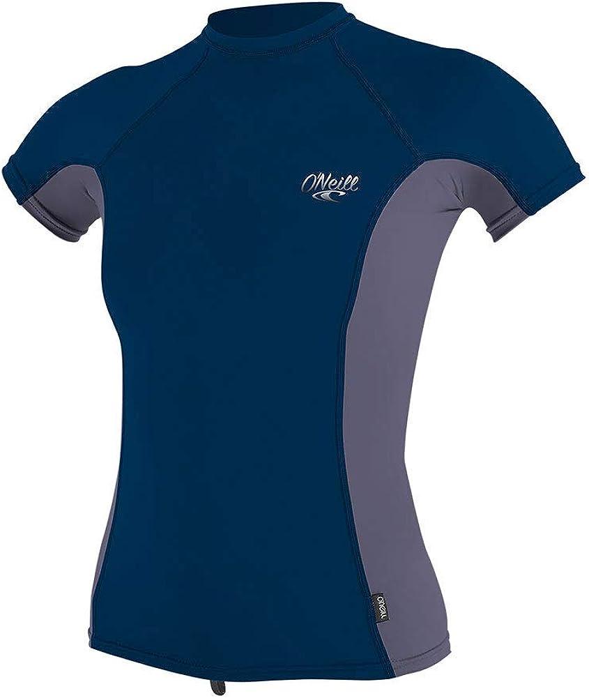 ONeill Tshirt Femme Anti UV Manches Courtes Bleu Fonc/é//Gris XS