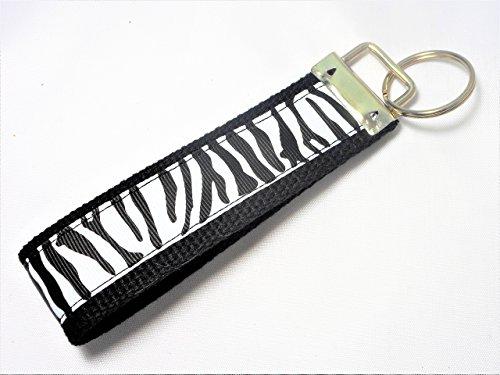- Zebra Print Ribbon Wristlet Key Fob Keychain Black and White
