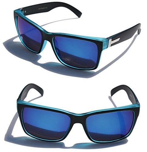 large-mens-women-matte-square-retro-sunglasses-black-frame-color-mirror-lens-150mm-wide-blue