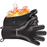 Kyerivs Grilling Gloves, Heat Resistant BBQ Cooking Gloves, Flexible Safe Oven Mitts for Grilling, Cooking, Baking (1 Pair)