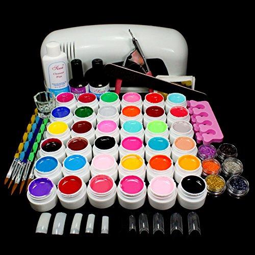 9W Dryer Lamp Tube UV Gel Kit Brush Buffer Guides Toe Sepera