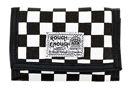 Rough Enough Premium Cordura Polyester Plaid Tartan Sports Outdoors Travel Classic Basics Small Portable Trifold Coin Wallet Purse Holder Organizer Case with Zippers for Kids Boy Men Women Black/White