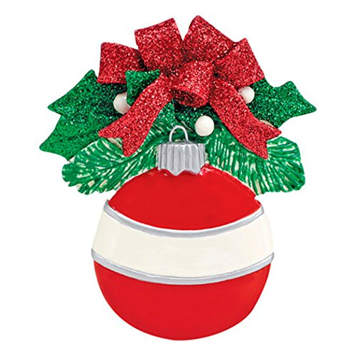 (Personalized Red Round Christmas Tree Ornament 2019 - Classic Bauble Glitter Bow Ribbon Peppermint Formal Family Friend Tradition Special Candy Joy Memory Generic Striped - Free Customization)