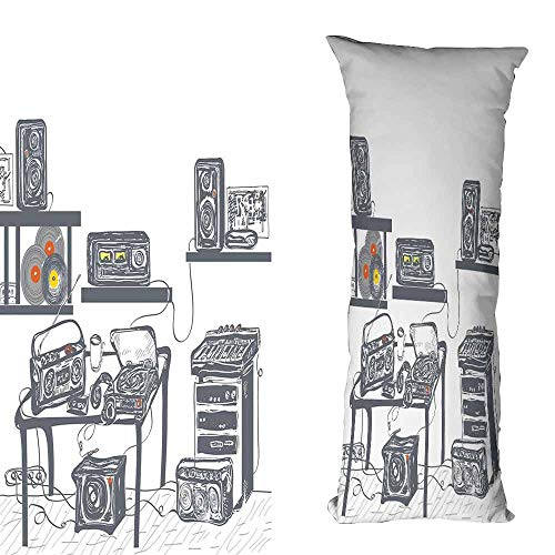 - duommhome Modern Breathable Pillowcase Recording Studio with Music Devices Turntable Records Speakers Digital Illustration Suitable for Hair and Skin Health W23.6X L71 inch Cadet Blue