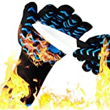 Walk Rhino BBQ Grill Gloves - 932℉ Extreme Heat Resistant & Cut Resistant L 5 - Oven Cooking Gloves - Oven Mitts & Grilling Accessories - Comfortable,Soft & Durable,2 Gloves