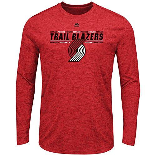 Majestic Portland Trail Blazers NBA Men's Thrill A Minute Long Sleeve Performance T-Shirt (Small)