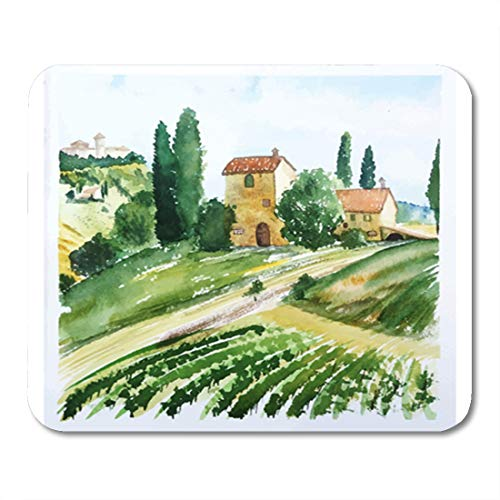 Semtomn Gaming Mouse Pad Italian Landscape Houses Watercolor Vineyard Olive Tuscany Painting Italy 9.5