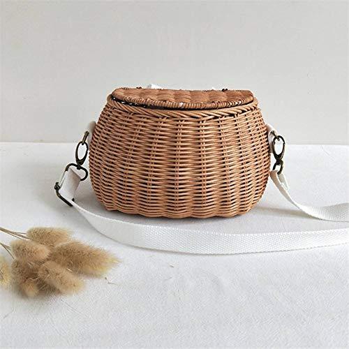 TKOZZ Schoolbags Small Big Back Basket Children Bicycle Basket Handmade Rattan Bag Basket Kid'S Backpack