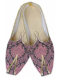 Mens Burgandy Brocade Indian Wedding Shoes MJ0080
