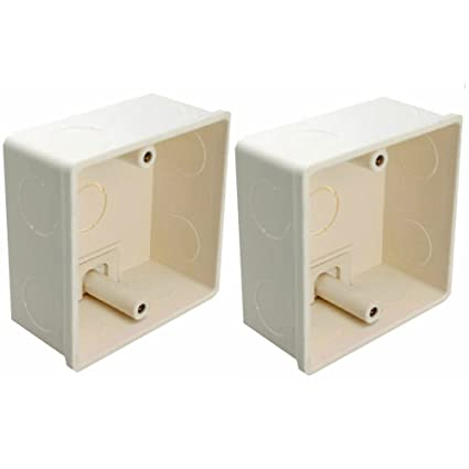 LEDENET 2pcs 86x86x40mm Recessed Electrical/Outlet Mounting Box White PVC  Flush Type Wall Mounted Single