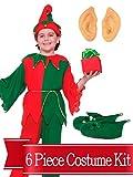 Elf Costume Santas Helper Kids Unisex Complete Costume Kit - Standard