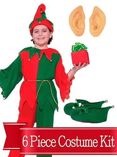 BirthdayExpress Elf Costume Santa's Helper Kids Unisex Complete Costume Kit - Standard]()