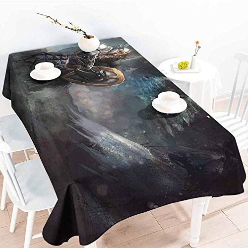 Homrkey Washable Table Cloth Fantasy Illustration of Medival Dwarf Knight in Gothic Shield in Mysterious Forest Grey Pale Blue Gold Table Decoration W50 xL80