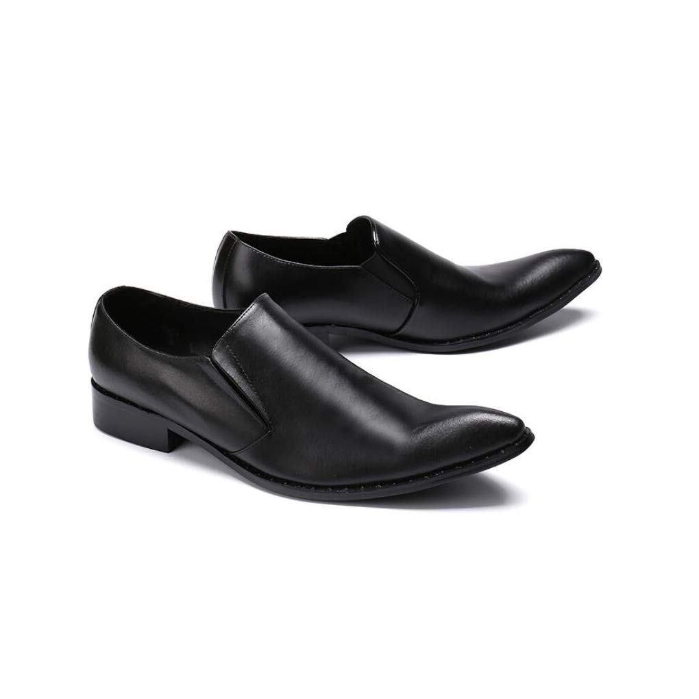 2018 Spring Fall Mens Leather Shoes,Fashion Pointed Toe Shoes,Casual Business Shoes Mens Gentleman Dress Shoes Wedding Party Color : Black, Size : 43