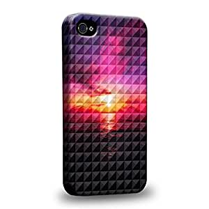 Case88 Premium Designs Art Studded Ombre Pattern Sunset Protective Snap-on Hard Back Case Cover for Apple iPhone 5s