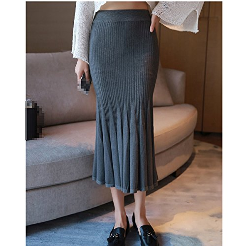 Mode Sexy En En Femme Lady Jupe Slim Tricot Extensible Jupe Multicolore Grey Poisson Longue De Queue Plisse r0BxqrFw