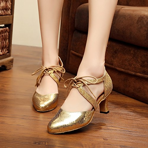Minitoo Dames Tango Danse Lacets Salsa Or Pompes Synthétique Latin Cravate Qj7047 OOqFdr