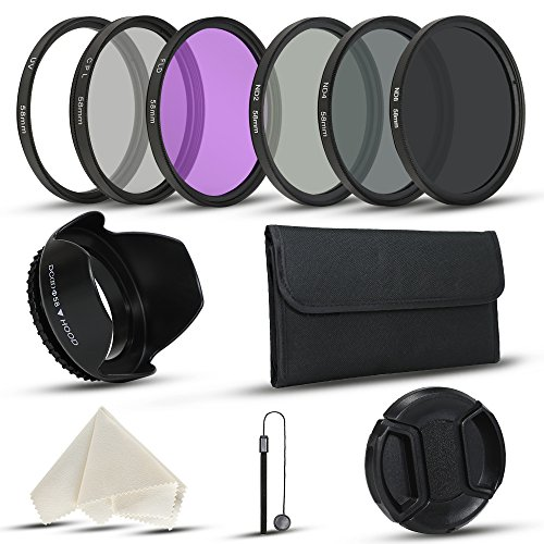58mm Camera Lens Filter Kits for DLSR Canon Nikon Fujifilm Cameras with UV CPL (Polarizer Filter) FLD, ND2, ND4, ND8 Filters, Filter Pouch, Lens Cap, Lens Hood (3 Polarized Lenses)