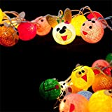 Animal Cotton Ball String Light Warm White Plug In Creative DIY Pure Hand Length 2M 20 Lights Suitable for Party,Patio,Fairy,Decor,Living Room,Kid Child Bedroom,Boy,Girl,Christmas,Wedding Lights