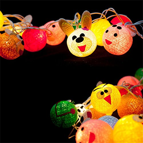Animal Cotton Ball String Light Warm White Plug In Creative DIY Pure Hand Length 2M 20 Lights Suitable for Party,Patio,Fairy,Decor,Living Room,Kid Child Bedroom,Boy,Girl,Christmas,Wedding Lights by LOGUIDE