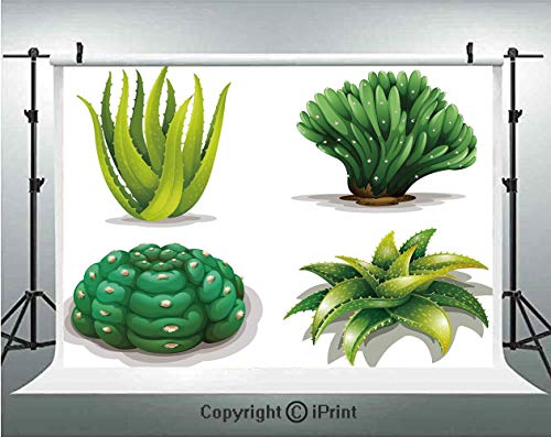 Succulent Photography Backdrops Aloe Vera Plants Cacti Rejuvenating Healing Herbal Spiny Collection,Birthday Party Background Customized Microfiber Photo Studio Props,10x6.5ft,Green Apple Green Brown