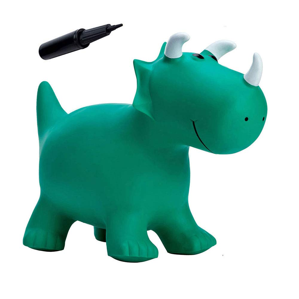 Babe Fairy Jumping Horse with Pump- Bouncy Horses Animals Hopper-Toddlers Inflatable Bouncing Horse Toys (Green Dinosaur)