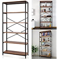 Utheing Book Shelf- 5-tier Wooden Free Standing Multipurpose Bookcase Organizer Vintage Rustic Display shelf Etagere for Home office
