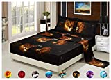 4 Piece Set Luxury 3d Print Vivid Animals Pattern Deep Pocket Bed Sheet Set (1 Flat Sheet,1 Fitted Sheet,2 Pillow Case/Pillow Sham)(Queen, Lion Tiger)