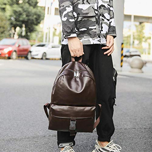 School Leather Handbags Dark Backpack Men Shoulder Casual Preppy Travel Occitop Daypack Brown 6p0qAwSWa