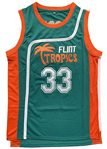 Flint Tropics Jackie Moon #33 Coffee Black #7 Semi Pro Basketball Jersey Green White (33 Green, X-Large)]()