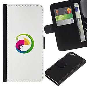 Billetera de Cuero Caso del tirón Titular de la tarjeta Carcasa Funda del zurriago para Apple Iphone 6 4.7 / Business Style Lizard circle