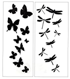 Premium Dragonfly & Butterfly Black Silhouette Tattoo Tattoos