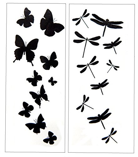 (Premium Dragonfly & Butterfly Black Silhouette Tattoo)