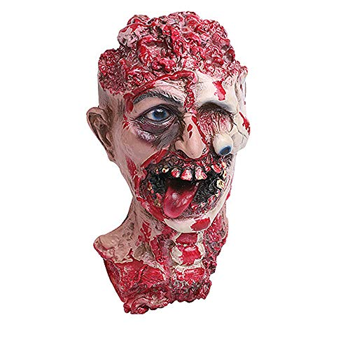 Stheanoo Halloween Horror Head Simulation Mask Zombie Face Shield Headgear Realistic Spoof Mask for Rave Party Cosplay Dress up Props Halloween Decoration Costume Gifts (A) -